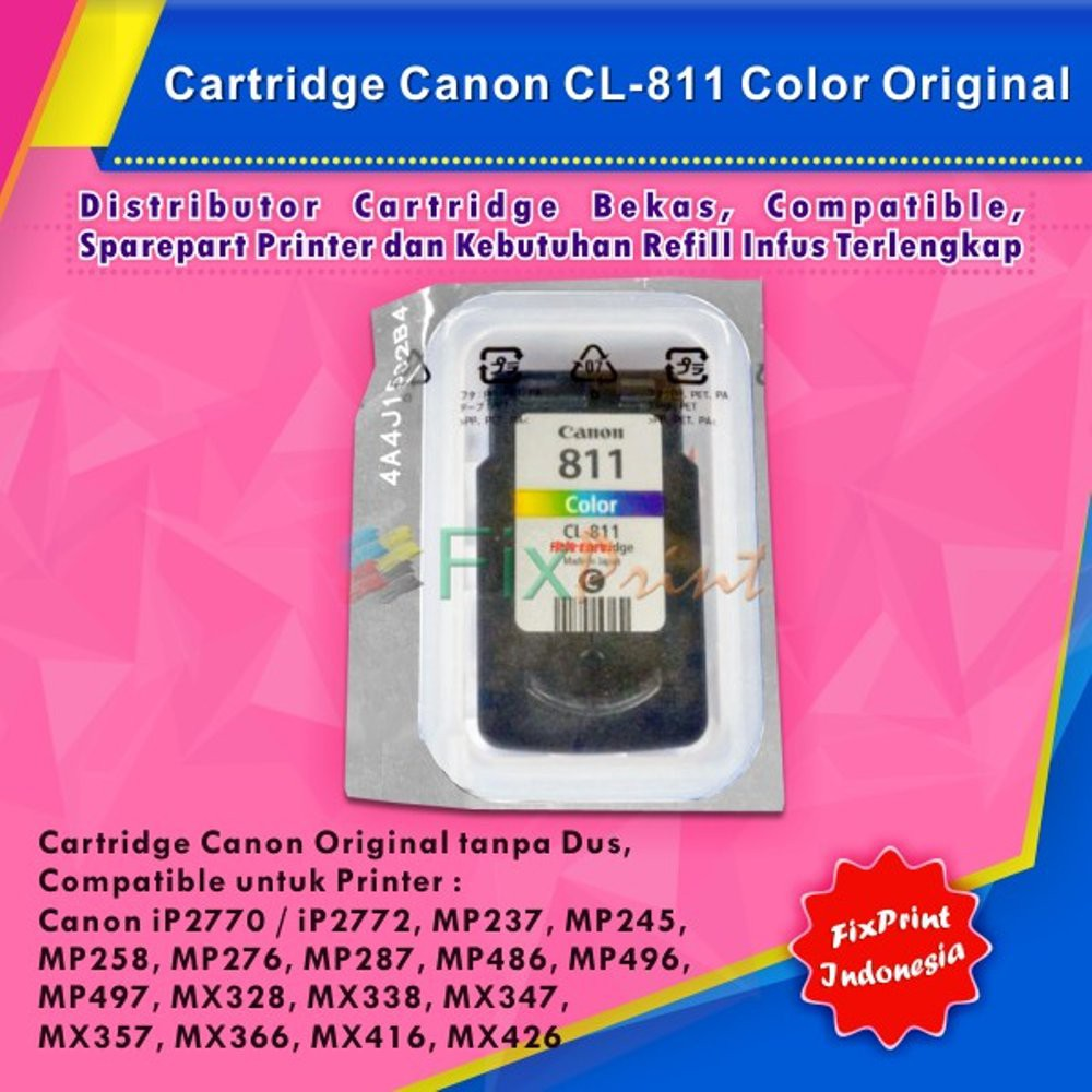 Cartridge Canon Pg810 Black Printer Ip2770 Mp237 Mp245 Mp258 Mp287 Cl 811 Color Shopee Indonesia