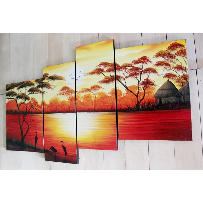 Lukisan Dinding Pemandangan Danau Senja Buatan Tangan Home Decor