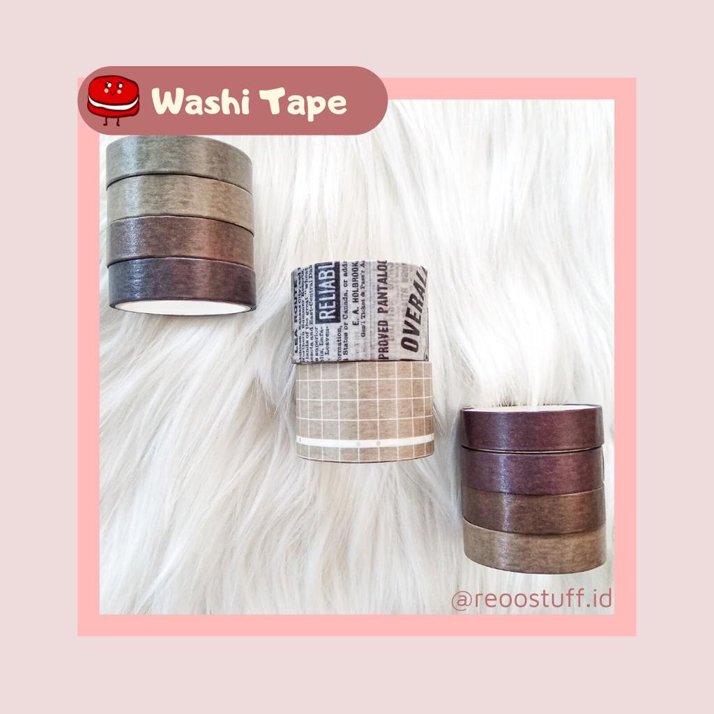 Washi Tapes Isi 10 Roll Murah Warna Coklat Aesthetic Washi Tapes Shopee Indonesia