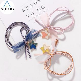 XIJING-COD Fashion Woman Double Rope Hair Band Star Pendant Elastic Hairband Girls Ponytail Holder thumbnail