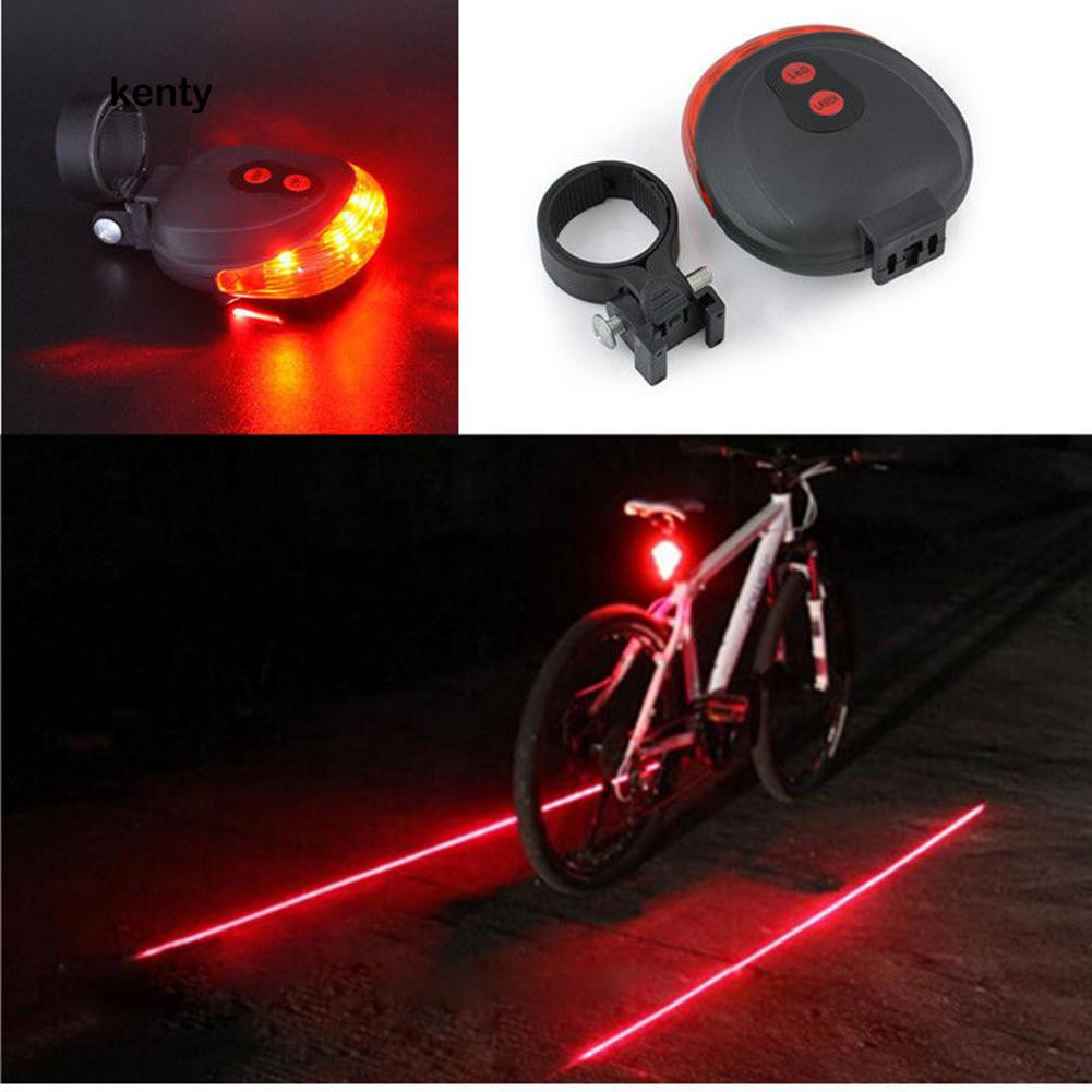 5 LED 2 Laser Front Bicycle Tail Light Beam Safety Warning Red Lamp Cycling Bike
