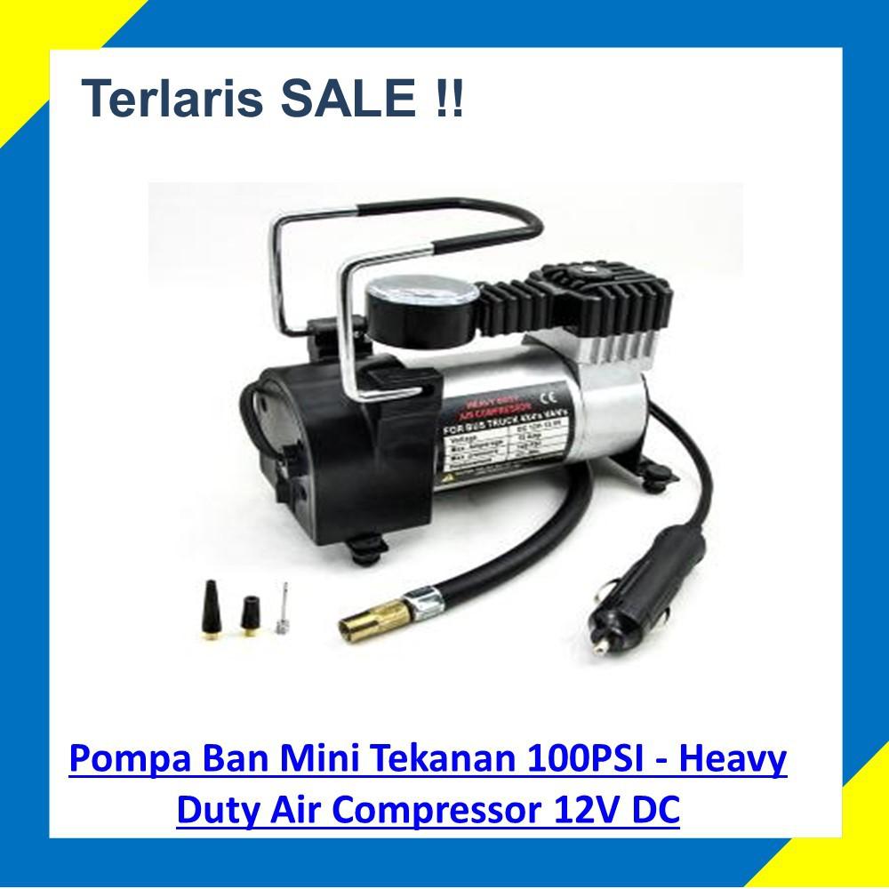 Pompa Ban Mini Tekanan 100PSI / Kompresor Angin Mini - Heavy Duty Air Compressor 12V DC | Shopee Indonesia