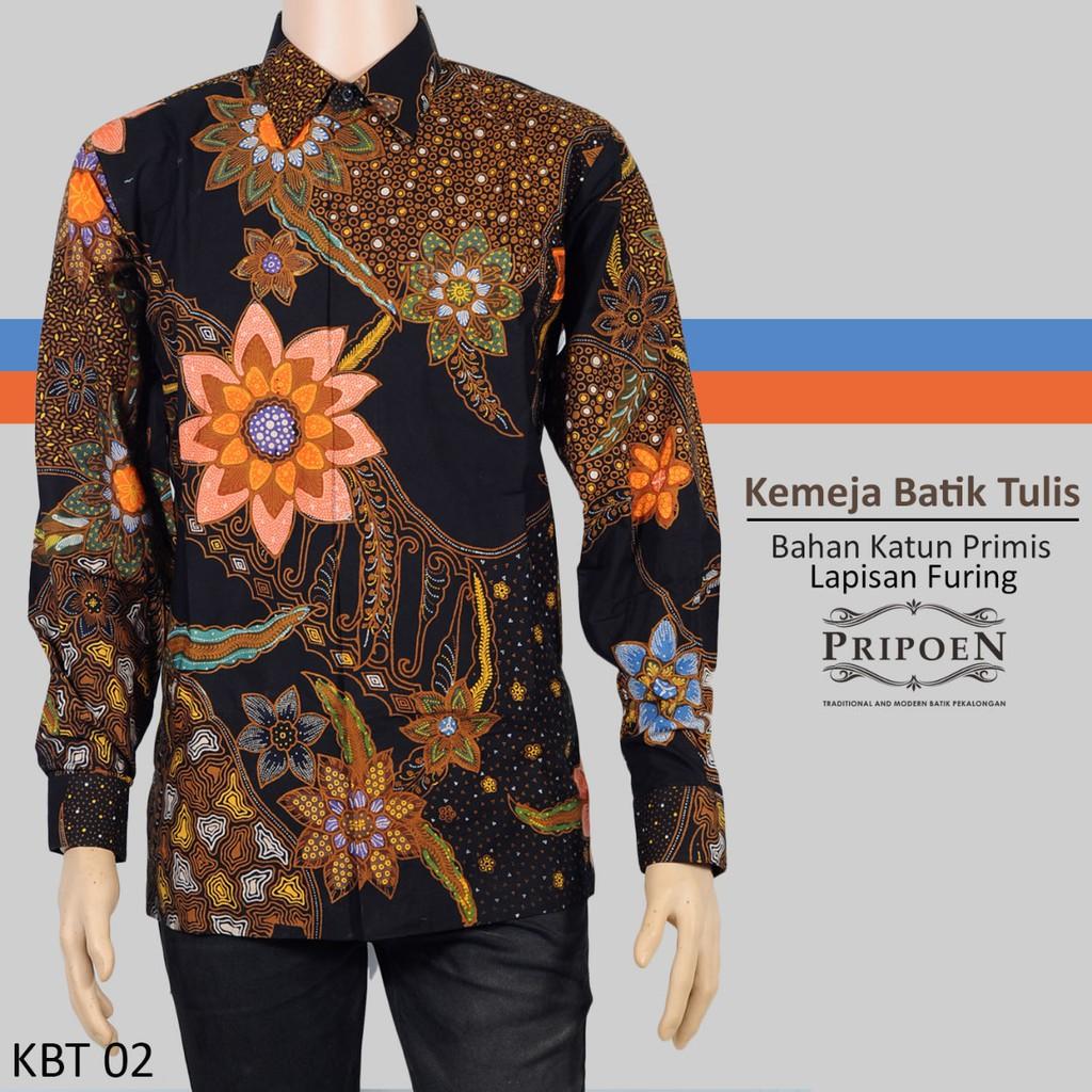 Pripoen Batik KBP314 - KEMEJA BATIK PRIA LENGAM PANJANG SOGAN COKLAT HITAM  MOTIF UKIR  7c8cb5a996