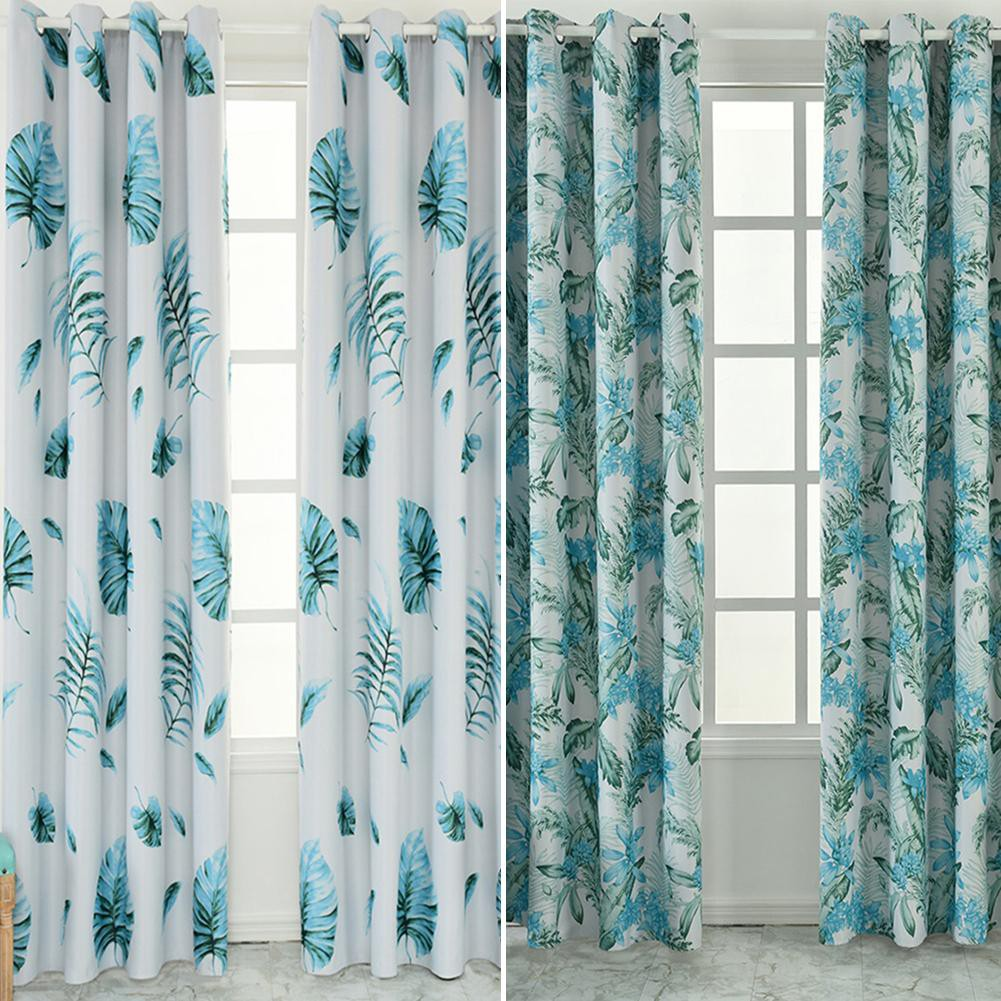 【Ready】Blackout Curtains Tropical Print Living Room Bedroom Windows Drapes  Curtain