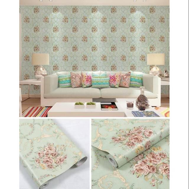 Wallpaper Dinding Shabby Tosca Wallpaper Shaby Tosca Ukuran 45cm10m