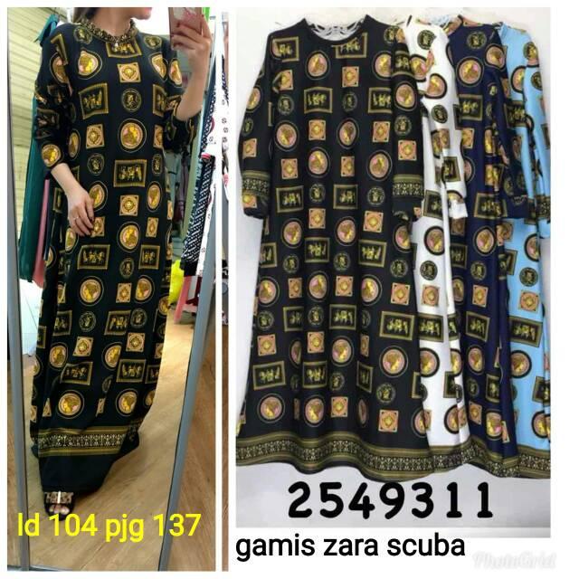 Gamis Motif Cc Fashion Bahan Scuba Import Shopee Indonesia