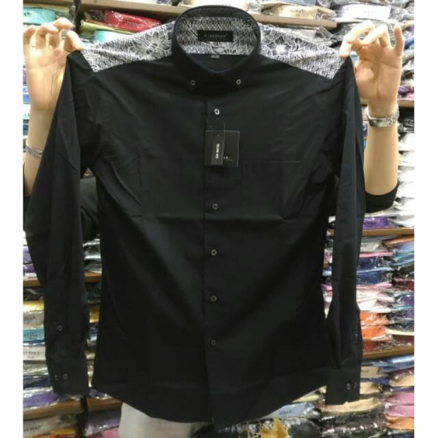 Alisan Kemeja Hitam Pria Panjang Slimfit Kombinasi Pundak Batik Best Seller