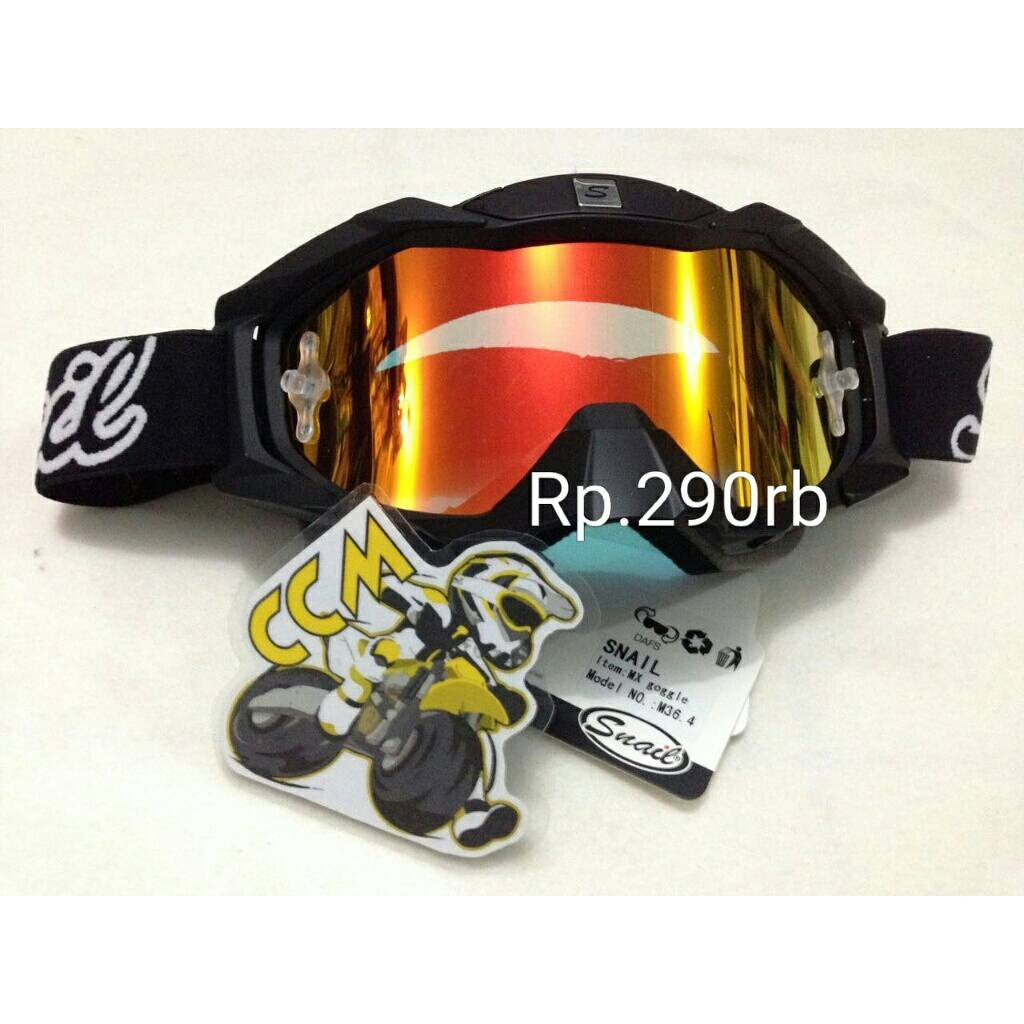Goggle Snail Mx18 With Revo Blue Visor Shopee Indonesia 310 White