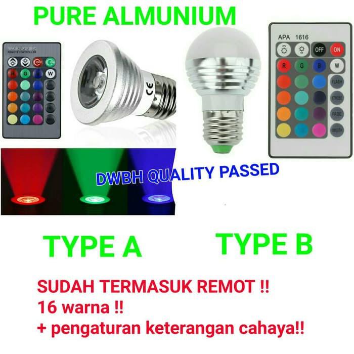 3W E27 Bohlam Lampu Led Ajaib Dengan 16 Warna RGB Yang Dapat Berubah Melalui Remote Tanpa Kabel   Shopee Indonesia
