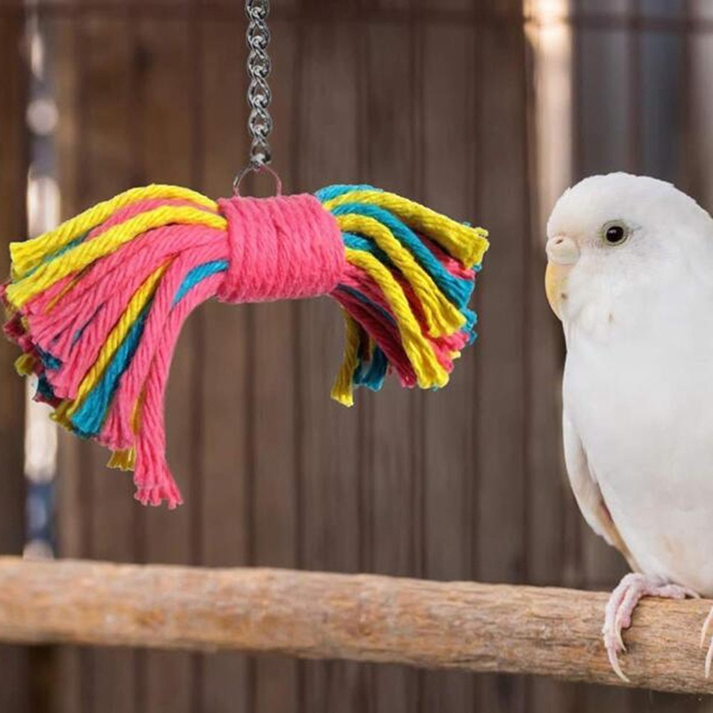 Bird Budgies Parakeet Cockatoo Cockatiel Pet Parrot Chew Toy Colorful Cotton Rope Bite Toys Shopee Indonesia