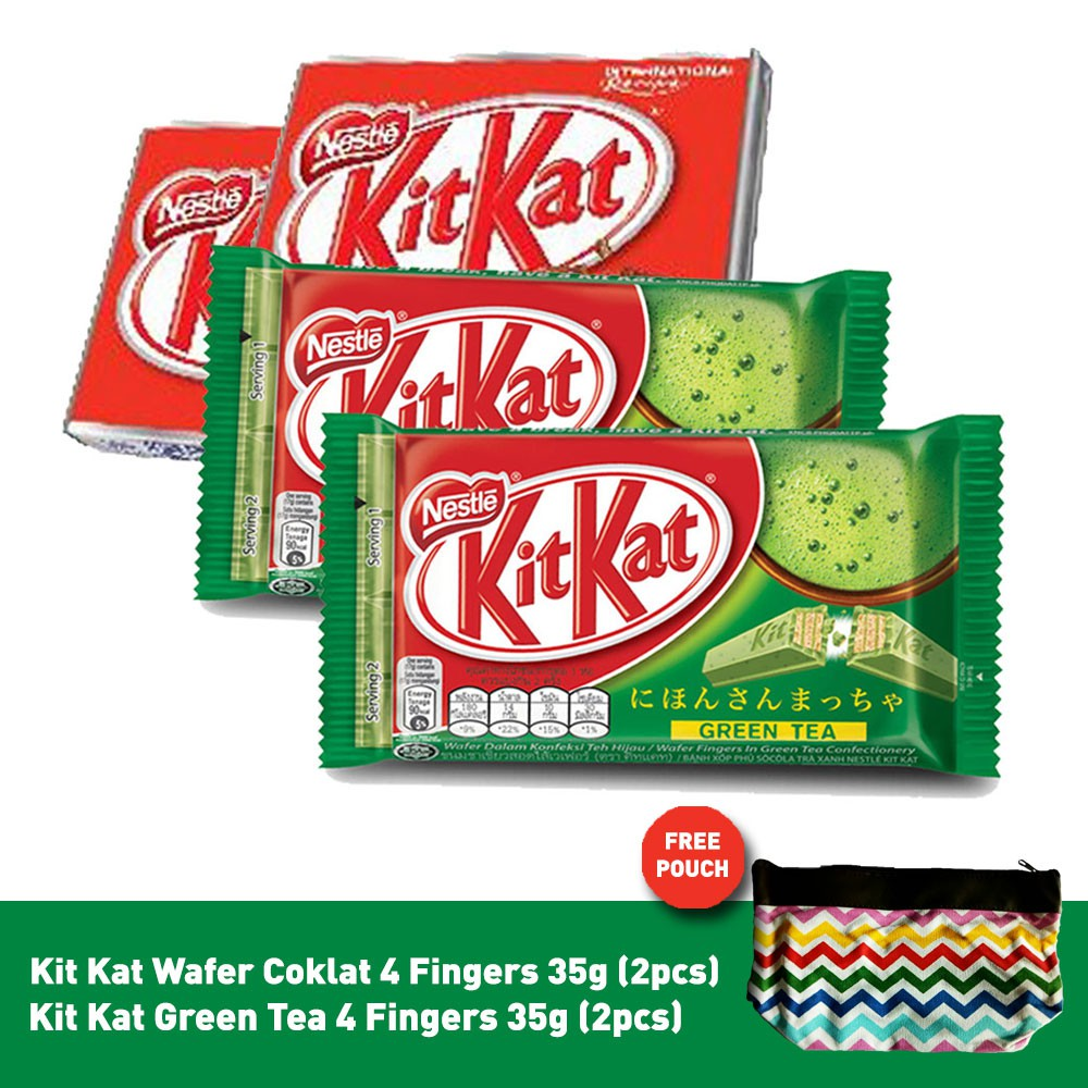 Kit Kat Wafer Cokelat 4 Fingers 35g2pcs Green Tea Nestum Bubur Sereal Multigrain 3in1 Polybag X 32g Susu 2 Pcs 35g 2pcs Free Zigzag Pouch Shopee Indonesia