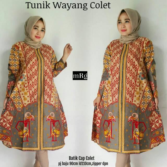 Baju Batik Tunik Pesta Lebaran Baju Batik Wanita Terbaru 2018