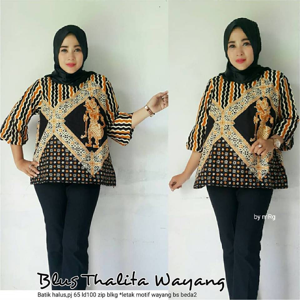 Baju Batik Blus Wanita - Batik Atasan Kerja Modern - Jual Batik Atasan Murah
