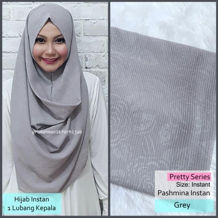 Pashmina Instan Pretty Series Grey Hijab Jilbab Mala Vivy Vanilla Hl Shopee Indonesia