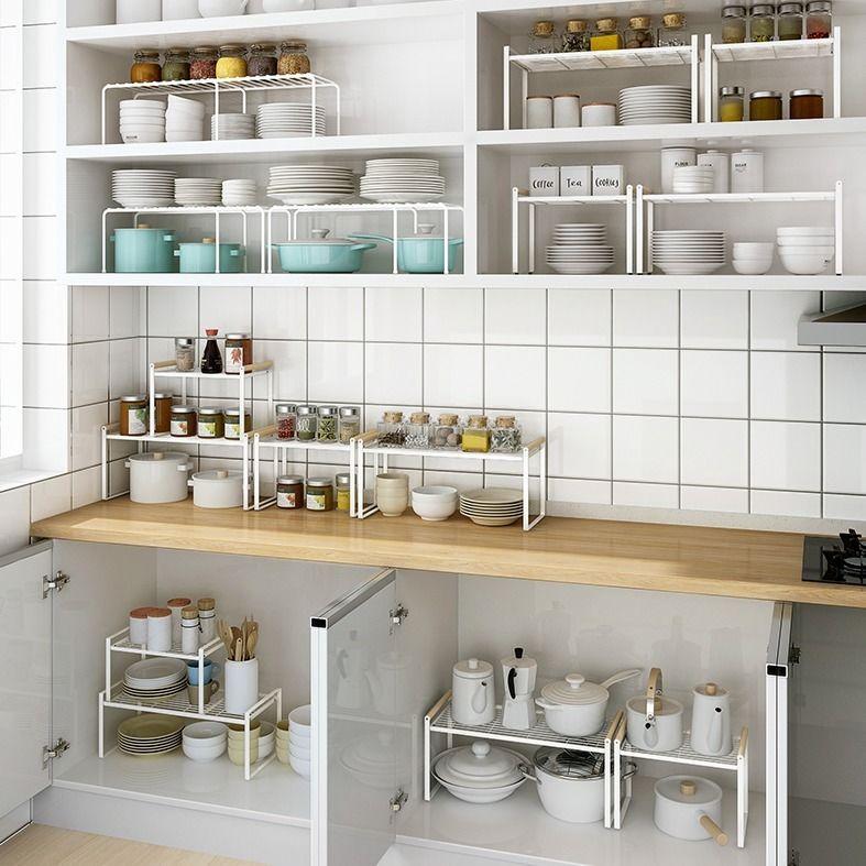 Kitchen Cabinet Layered Racks Desktop Storage Cabinets Inner Partition Divider Under The Sink Bowl Shopee Indonesia