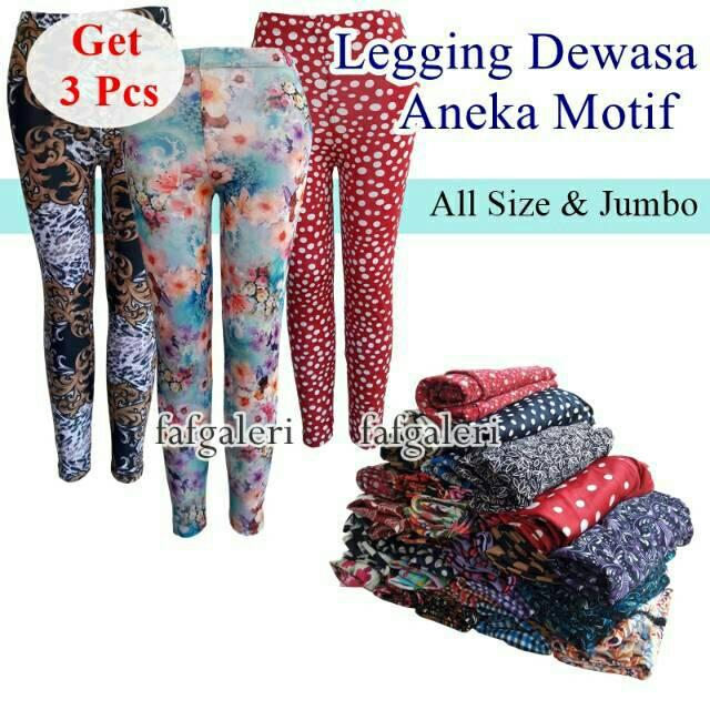 Paket 3pcs Legging Motif Remaja Dan Dewasa Celana Legging Wanita Shopee Indonesia