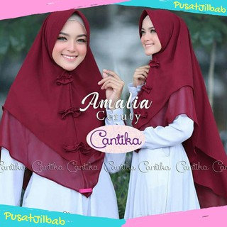 Hijab Jilbab Khimar Amalia Ceruty Premium / Khimar Instant Syar'i Syari Instan Kerut Rempel