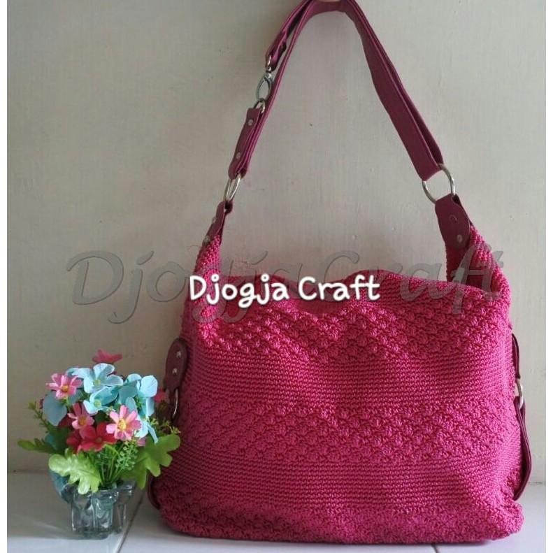 DjogjaCraft Tas Rajut Hobo Balon Besar Tali Rajut - Pink Fanta | Shopee Indonesia