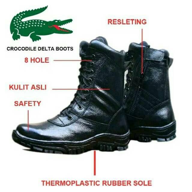 Sepatu Boot Pria Keren Crocodile Safety Lobster Boots Steel Toe Kulit Asli | Shopee Indonesia