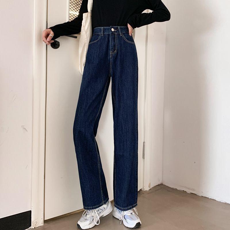 Korean women straight legs jeans retro all-fit