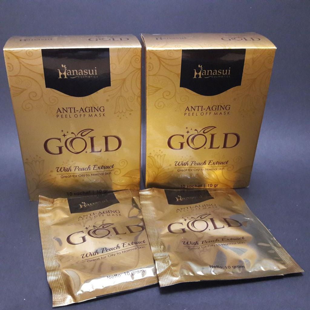 Hanasui Gold Mask Naturgo Peel Off With Extract Peachanti Aging Paket Isi 50 Sachet Bpom Na 18160200536 Kece Bong Masker
