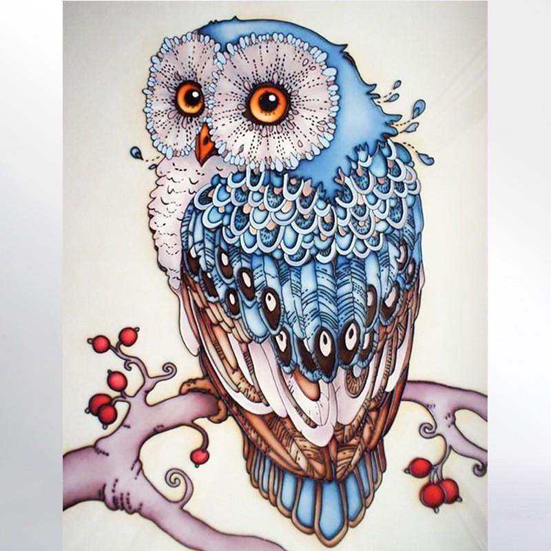Diy Lukisan Diamond 5d Dengan Gambar Burung Hantu 3d Untuk Hiasan