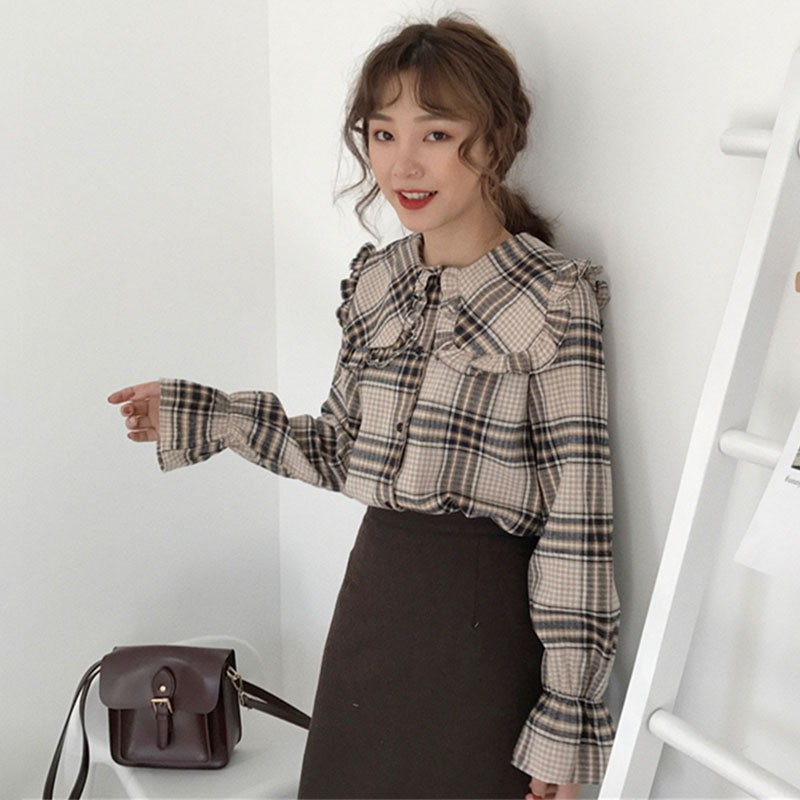 Hong Kong-style retro chic autumn new half-high collar outer wear bottom slim   Shopee Indonesia