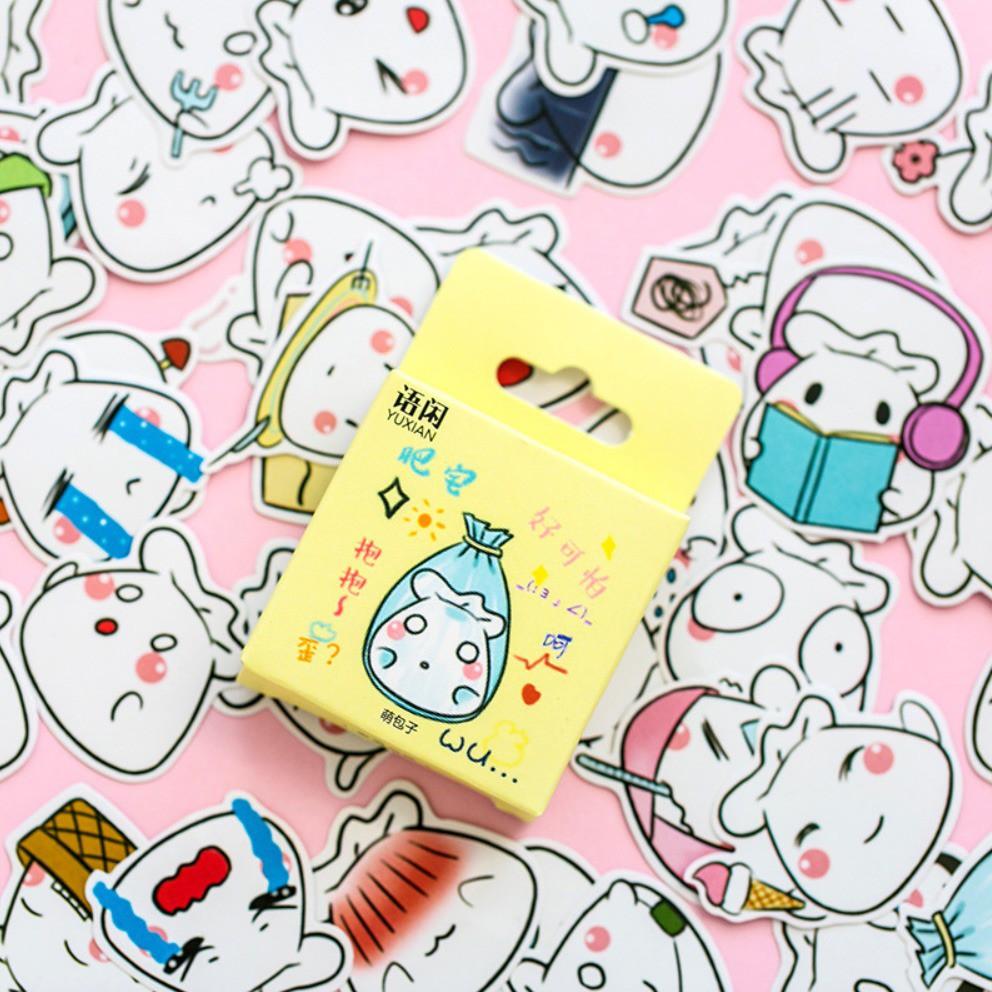 Sticker Deco Scrapbook Journaling DIY Bujo Kartun Dimsum Emoji Lucu 50 pcs