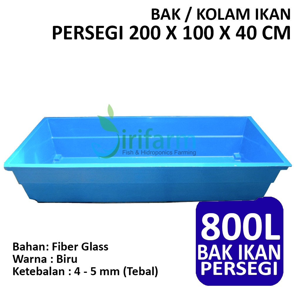 Jirifarm Bak Kolam Ikan Persegi 200 X 100 X 40 Cm 800 Liter