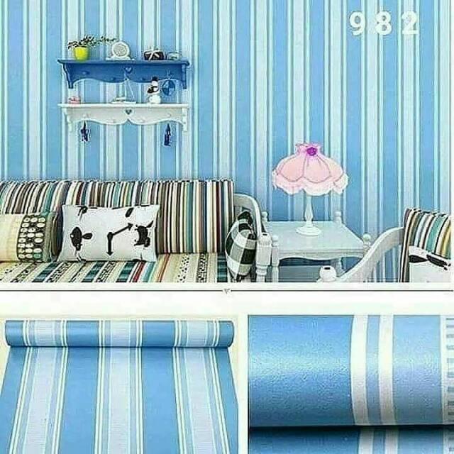 Wallpaper Dinding Murah Ruangan Tamu Kamar Garis Biru Putih Minimalis Elegan Bagus Terlaris Cantik