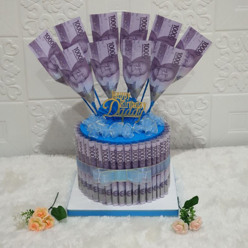 Kue Ulang Tahun | Birthday Cake | Kue Ultah | Money Cake 1 Tier High Medium | Kue Uang Asli