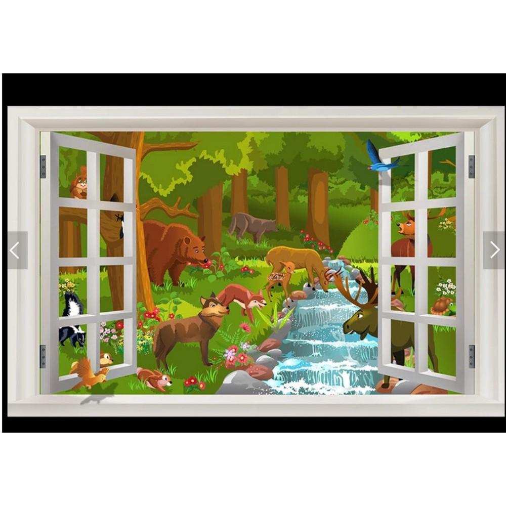 Bayar Di Tempatwallpaper Mural 3d Window Animal World Anime Children Room Background Wall