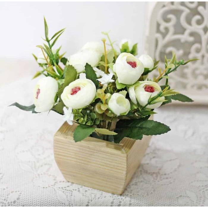 PROMO 1 SET ISI 2 bunga plastik hias artificial mawar rose shabby chic C-5   c184fb2f2a