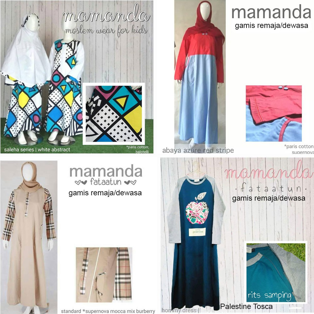 Gamis Anak White Abstract Size L Saleha Series by Mamanda