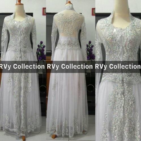 Kebaya Pengantin Akad Nikah Pre Wedding Tile Brokat Muslim Modern ... c73696eafc