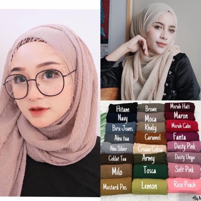Pashmina Crinkle Crimp Cotton Shawl Hijab Pasmina Crinkle Rawis Kusut Factory Outlet Fame Ladyfame Shopee Indonesia