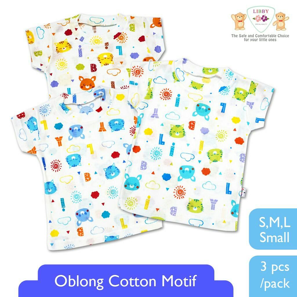 LIBBY Baju Bayi Branded Murah Kaos Oblong Pendek Motif Rib Print S M L 3 pcs | Shopee Indonesia