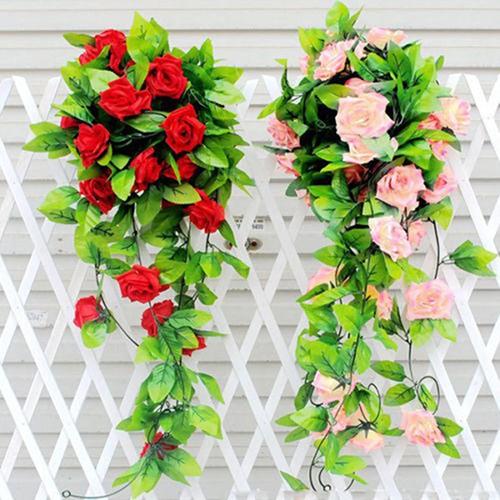 Untaian Bunga Mawar Dan Daun Tiruan Hiasan Gantung Untuk Dekorasi Pernikahan Rumah Bahan Sutra Shopee Indonesia