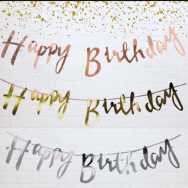 Banner Happy Birthday Tulisan Latin Sambung