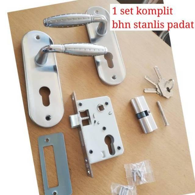 Kunci pintu stanlis ukuran kecil komplit, handle pintu kunci pintu model minllis komplit kunci