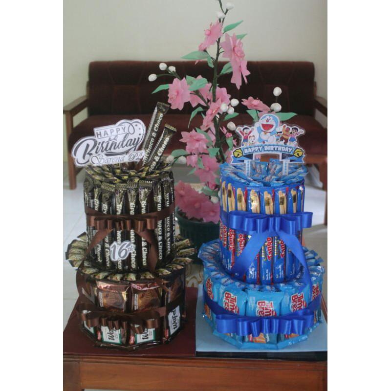 snack tart / tower cake / kue ulang tahun bisa request tema