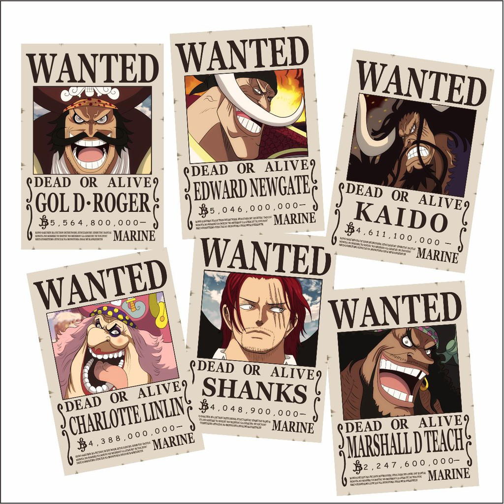 Poster One Piece Bounty Poster Wanted One Piece Yonkou Shopee Indonesia
