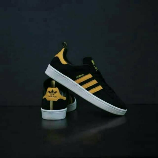 Sepatu Adidas Campus Original Black Yellow Sneakers Original