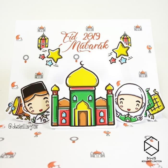 DDLW271 Kartu Lebaran Doodle Eid Mubarak Kartu Ucapan Idul