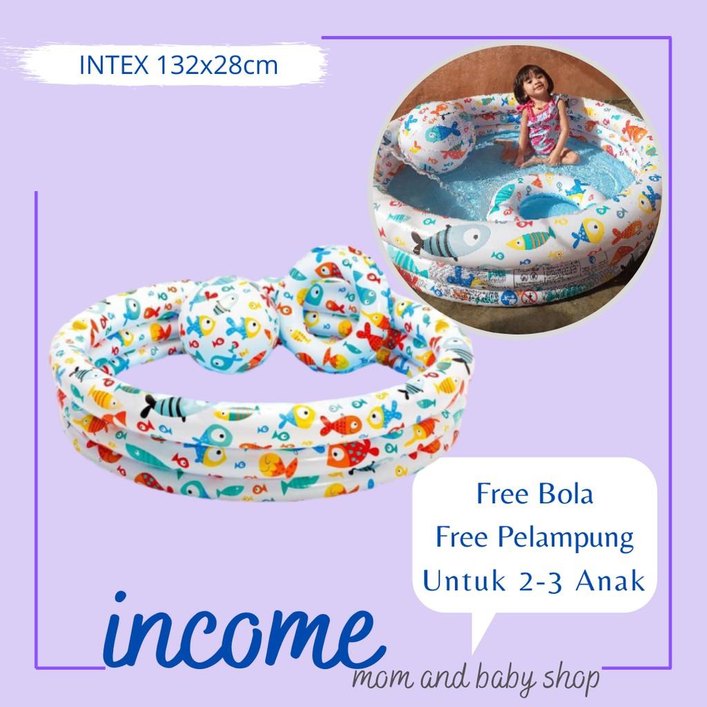 Kolam Renang Anak Kolam Karet Anak Free Bola Dan Pelampung Kolam Renang Intex Ukuran 132 X 28cm Shopee Indonesia