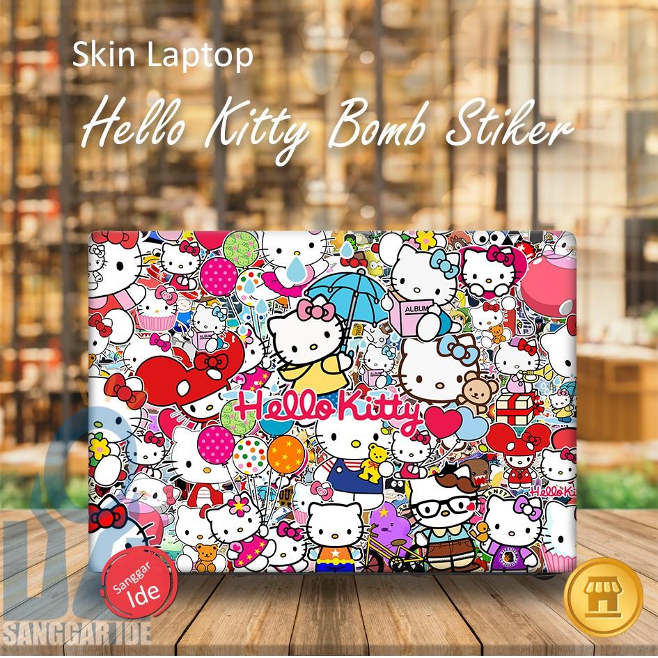 Garskin stiker skin laptop sticker bomb hello kitty shopee indonesia