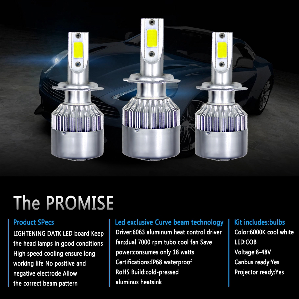 Pair 9007 HB5 1500W 225000LM COB LED Headlight High Low Beam Bulbs 6000K White