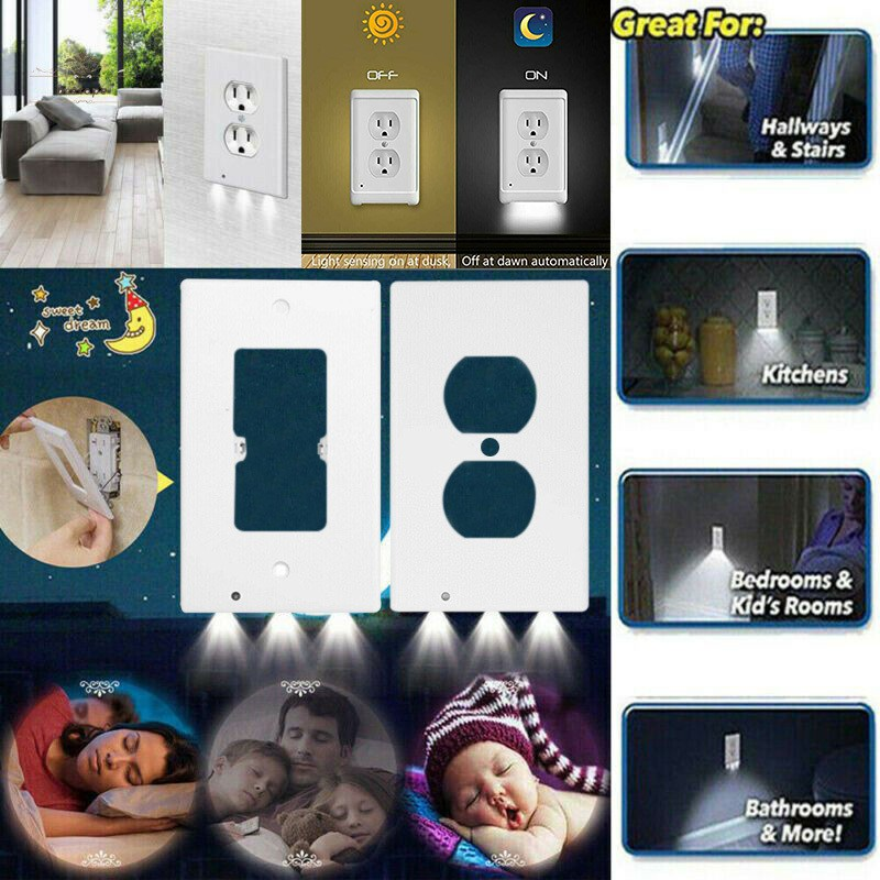 2pcs Wall Outlet Cover Plate Led Night Light With Ambient Light Sensor Household Shopee Indonesia