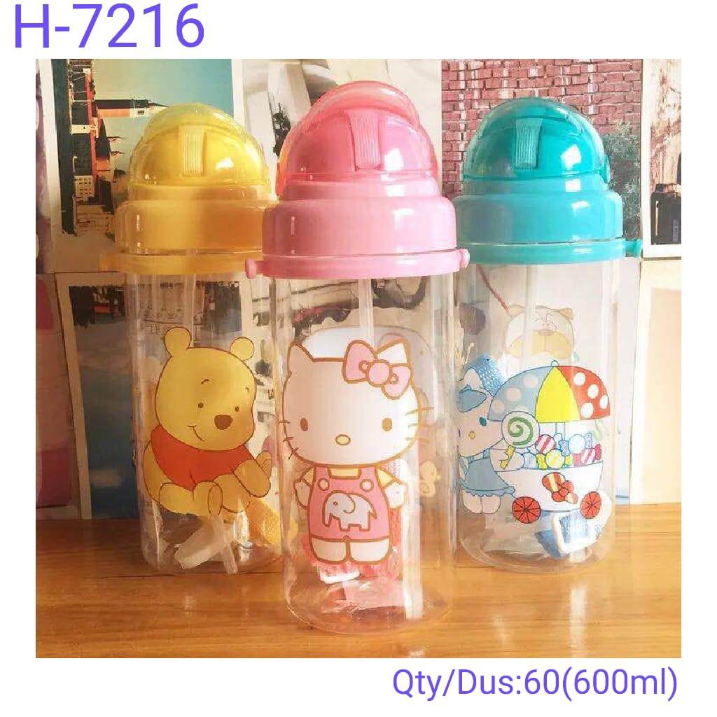 A3C10107 Botol Minum Anak Karakter BPA Free Water Bottle Straw H-7216