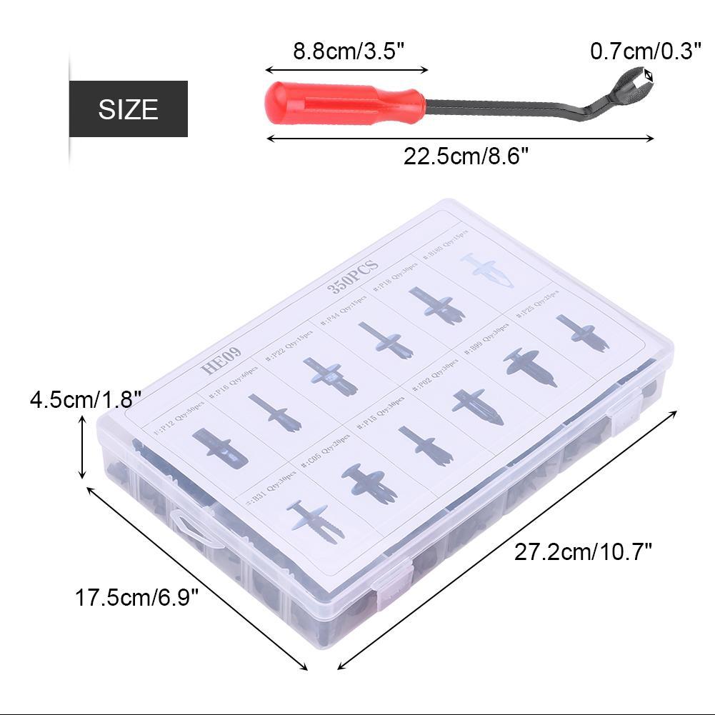 350 Clips Car Body Plastic Push Pin Rivet Trim Moulding Fastener Screwdriver Kit